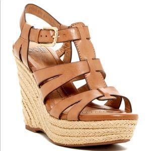 Sofft Pahana Leather Platform Wedge size 11 Tan